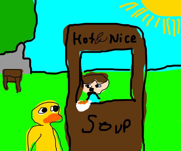 Duck eats a man's soup