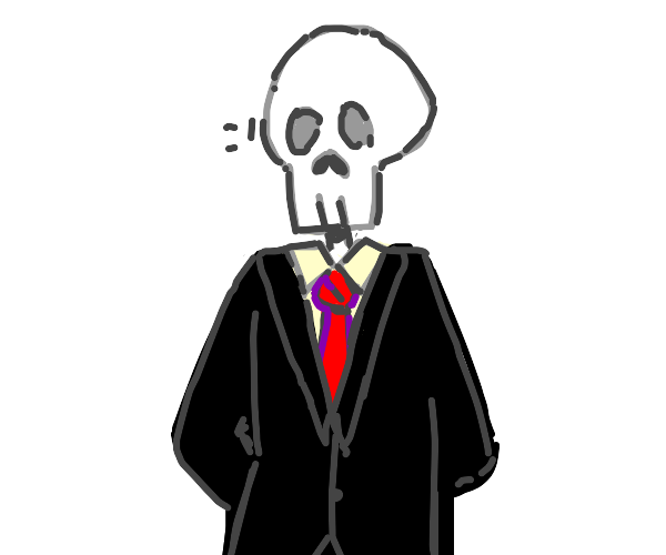 skeleton in a suit