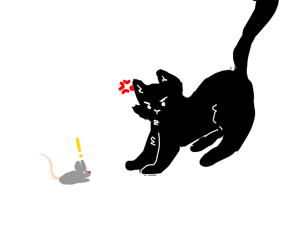 Cat angrily winks at shocked mouse