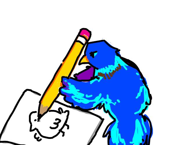 Bird drawing a bird