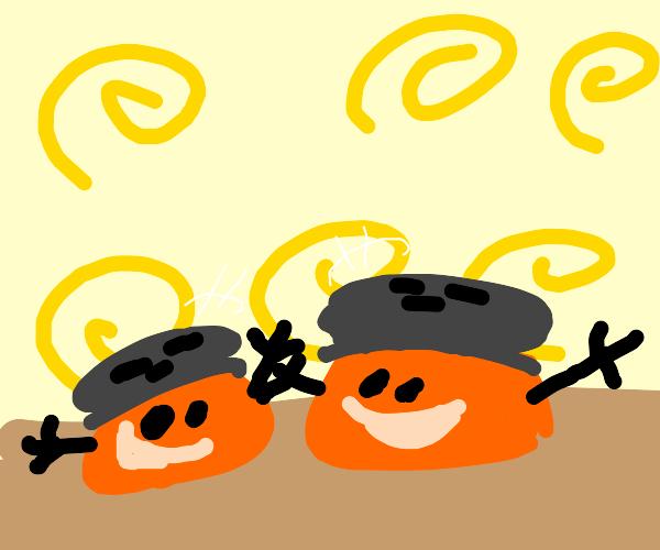 two happy paprikas
