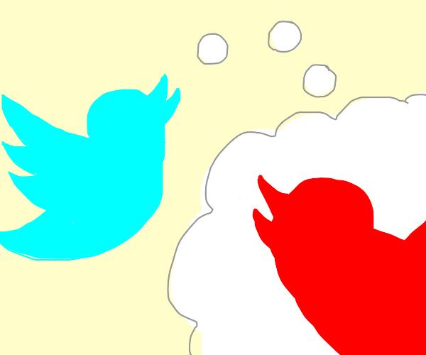 Blue Twitter bird thinks of Red Twitter bird