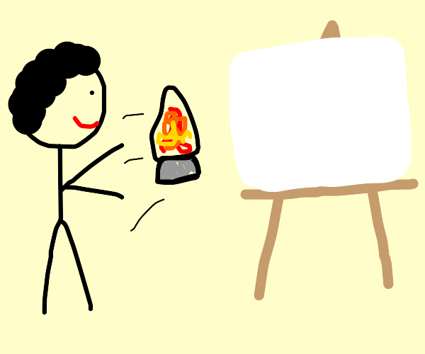 Stickman throws lava lamps at canvas