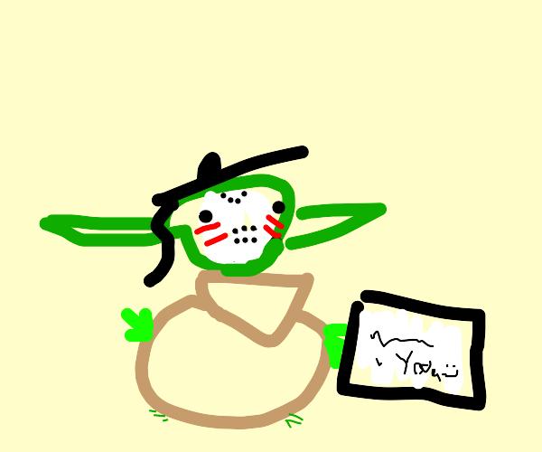 Yoda in a hockey mask graduates college