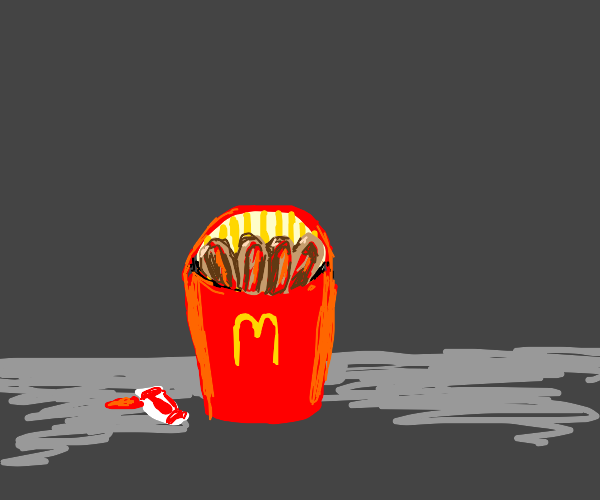 mcdonald fries actually mini hotdogs +ketchup
