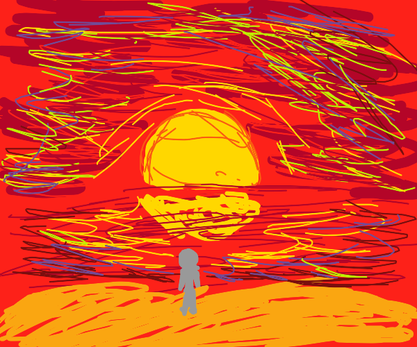 Gray faceless man watching sunset