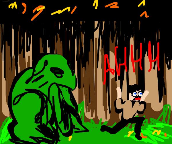 Giant frog scares park ranger