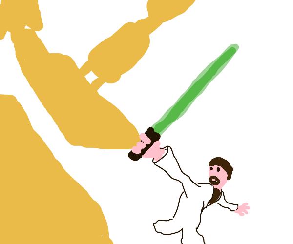 Battle droid being slain by general kenobi