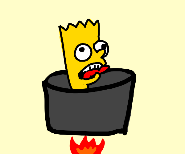 Bart Simpson in a cooking pot