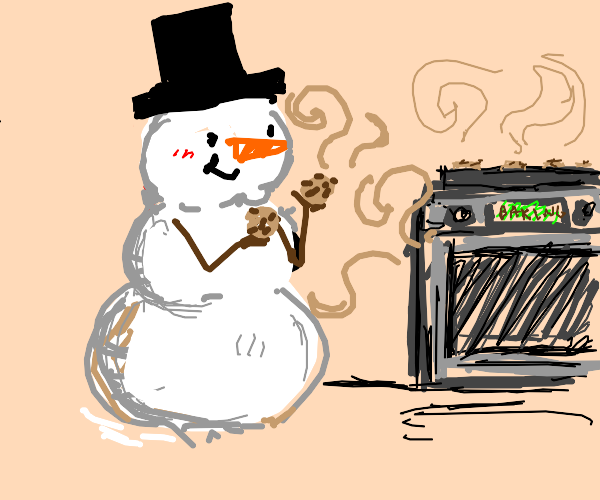 snowman baking cookies and eating them