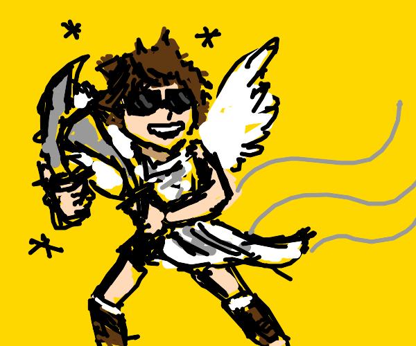 Angel flies in style