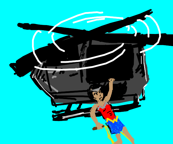 Wonder Woman in a helicopter