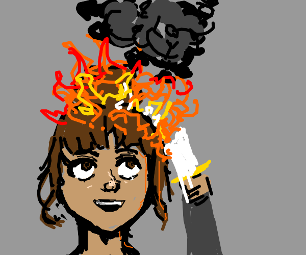 A Lady Lighting Her Hair on Fire