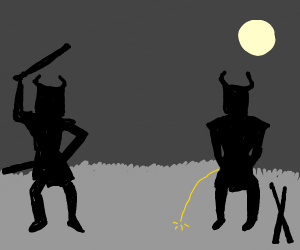 two samurai, one is peeing