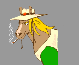 Hol horse but he is only half horse