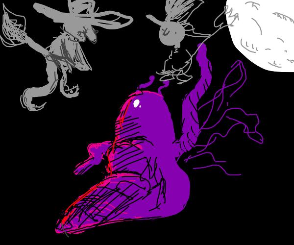 witches flying around a waving purple slug