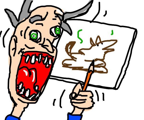 crazy man draws poop dog