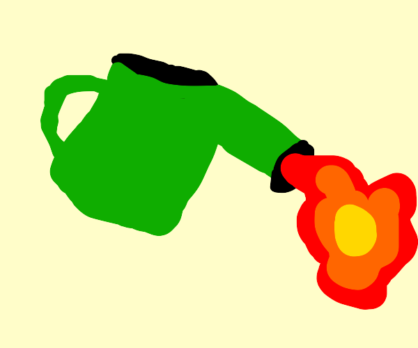watering can pouring fire
