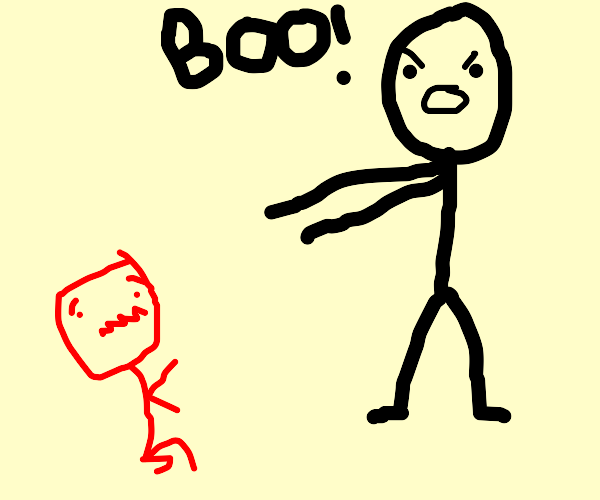 Black Stick Figure Scared by Red Stick Figure