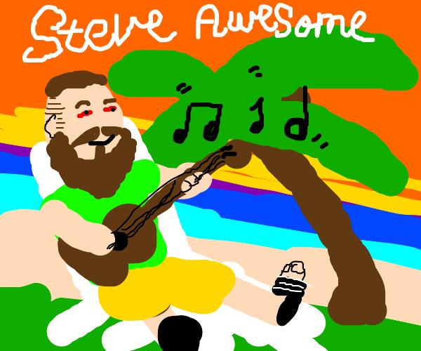 Steven playing his ukulele