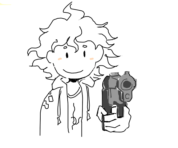 Nagito Komaeda has a gun