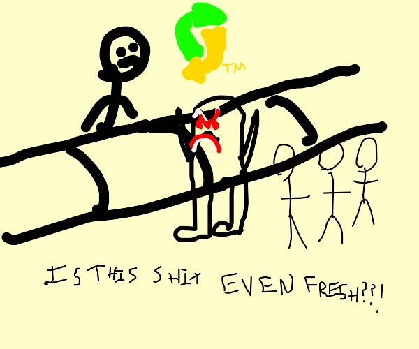 man complains about subway