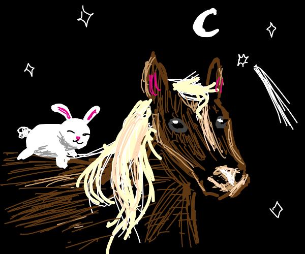 Bunny riding on a horse