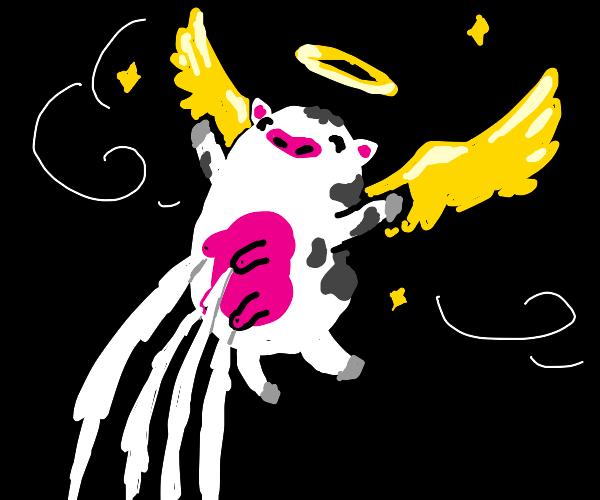 Angelic bovine's milk flows forth