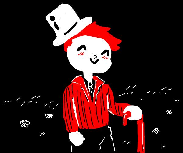 Cute boy with blue hair, suit & hat in field