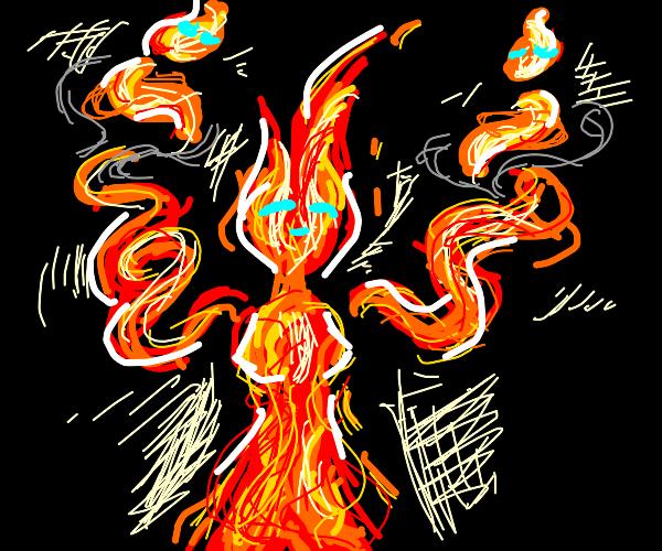 Fire spirit holds up its children