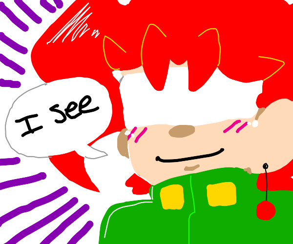 "kakyoin says ""i see"" but his eyes are bandage"