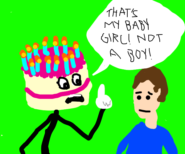 cake telling someone his baby is a girl