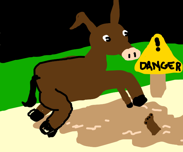 Donkey jumping over Quicksand