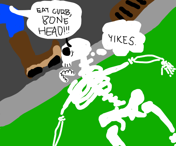 guy curbstomps skeleton