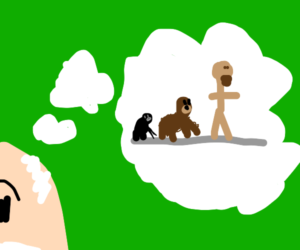 Darwin thinks up the Descent of Man