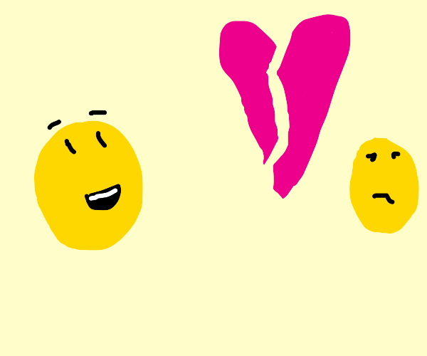 Yellow circle happy about breakup