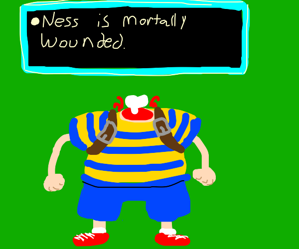 Ness from Earthbound is mortally wounded.