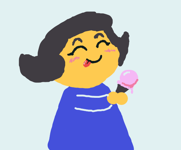 girl loves strawberry ice cream