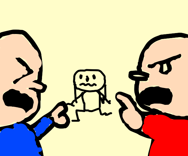 Two men yelling at woman
