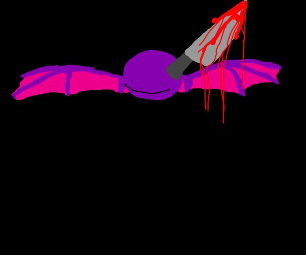 purple orb with bat wings & bloody knife