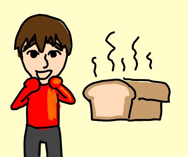 red shirt mii boy surprised at warm bread