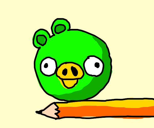 angry bird pig on pencil