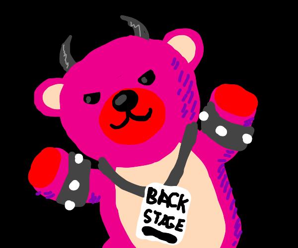 Demonic pink teddy bear has a backstage pass