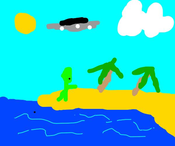 Alien by the beach