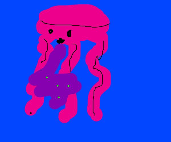 pink jellyfish is vomit purple stuff