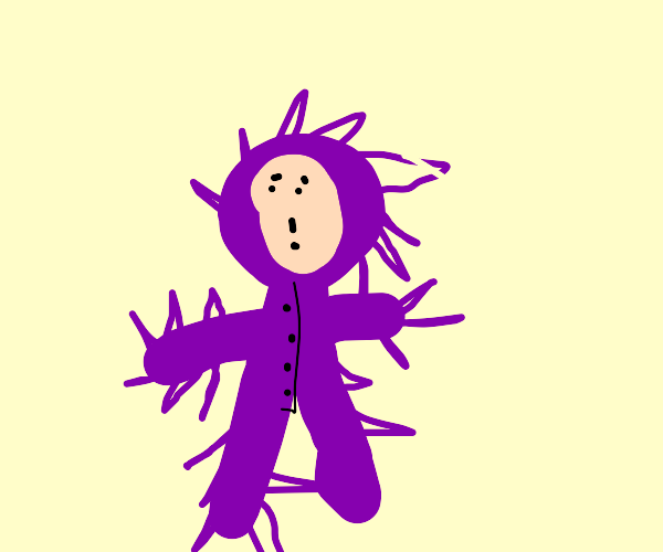 Man in a purple spiky suit
