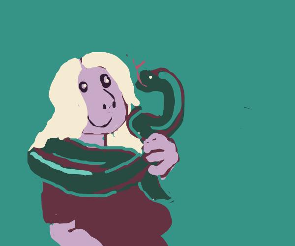 Blonde's big boa buddy