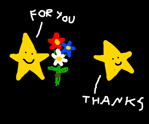 a star giving flowers to another star