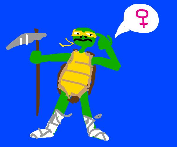 ninja turte woman holding a scythe