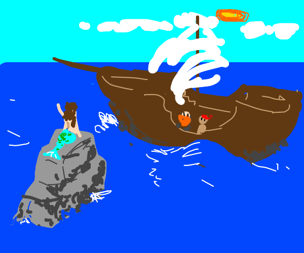 Mermaid on a rock waving at pirates on a boat